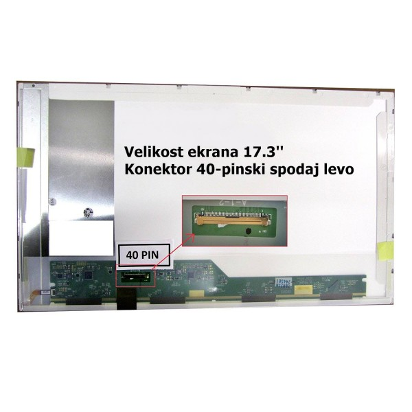 Ekran za prenosnik 17.3'' LED HD+ 40-pin, mat, DEL...