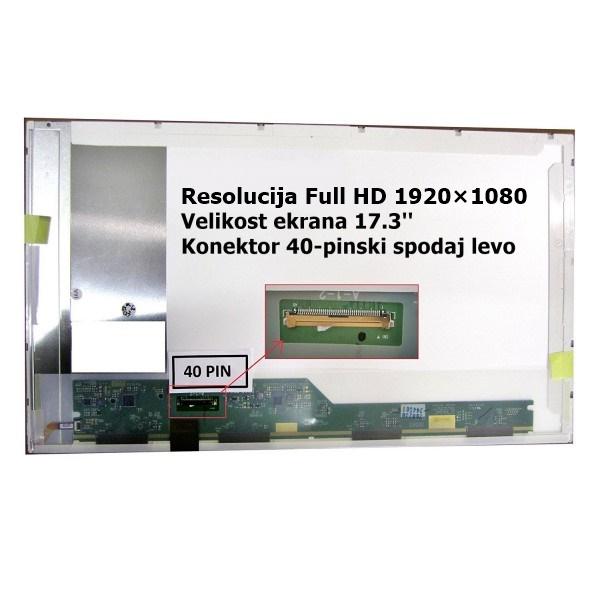 Ekran za prenosnik 17.3'' LED FHD 40-pin, mat, DEL...